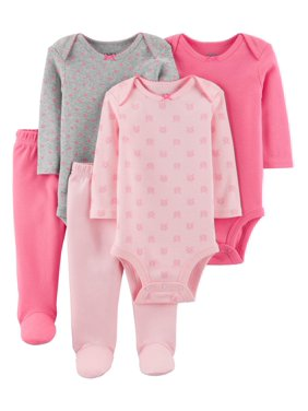 906c332ff Product Image Child Of Mine By Carter's Long Sleeve Bodysuits & Pants, 5 pc  Outfit Set (