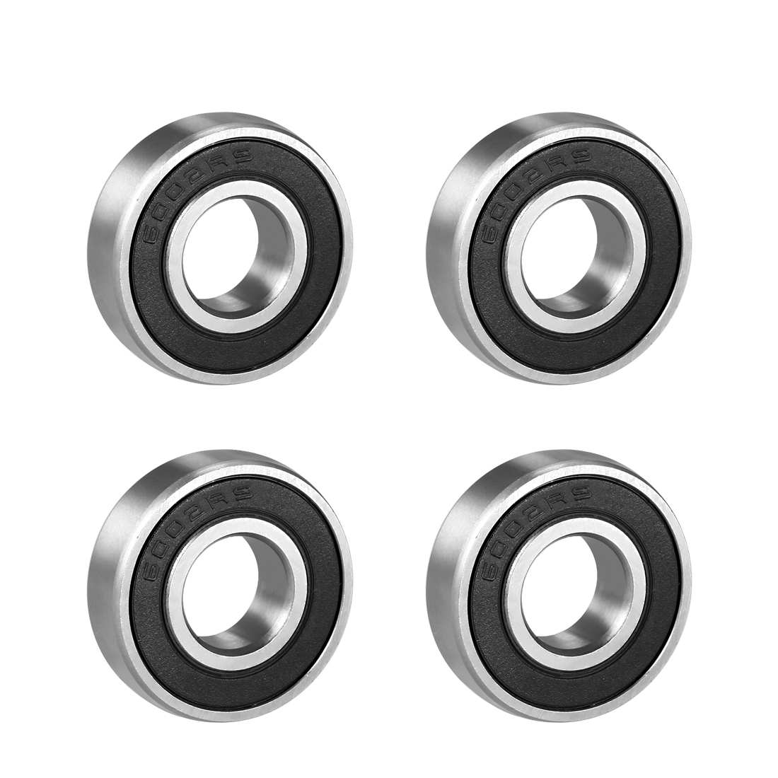 6002RS 32mm Outer 15mm Inner Single Row Deep Groove Ball Bearing 4 Pcs