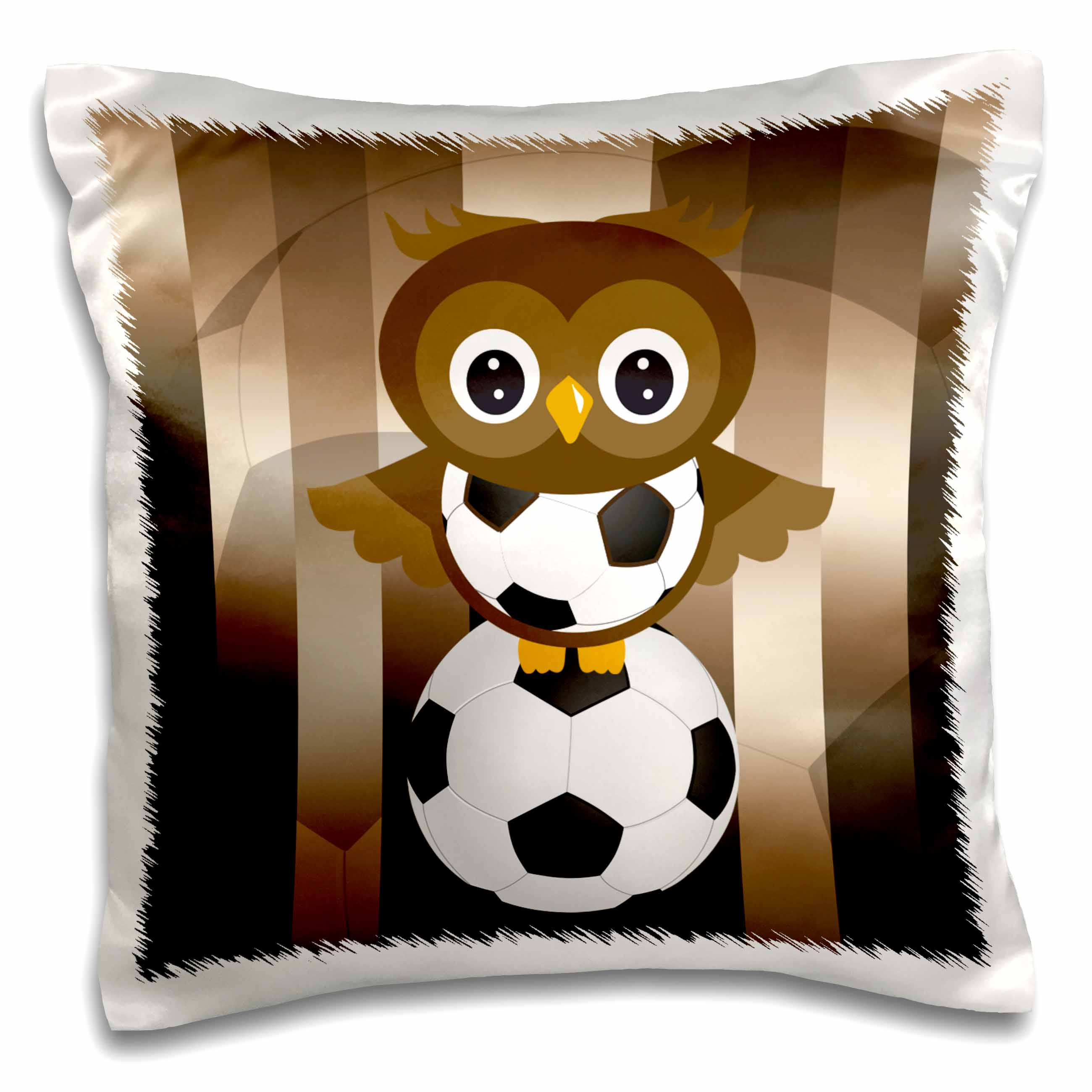 3dRose A cute brown owl stands on a soccer ball, Pillow Case, 16 by 16-inch