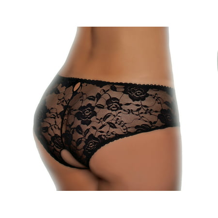 Lacy Line Sexy Open Crotch Lace Panties With Lace Up Detail (Xlarge,Pink)