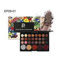 29 Colors Eyeshadow Palette with Matte and Shimmer Pop Colors, Highly Pigmented Colors Makeup Kit for Beginners Traveling Professional, Warm Neutrals Eyeshadow for All Ages and Skin Tones, S5712