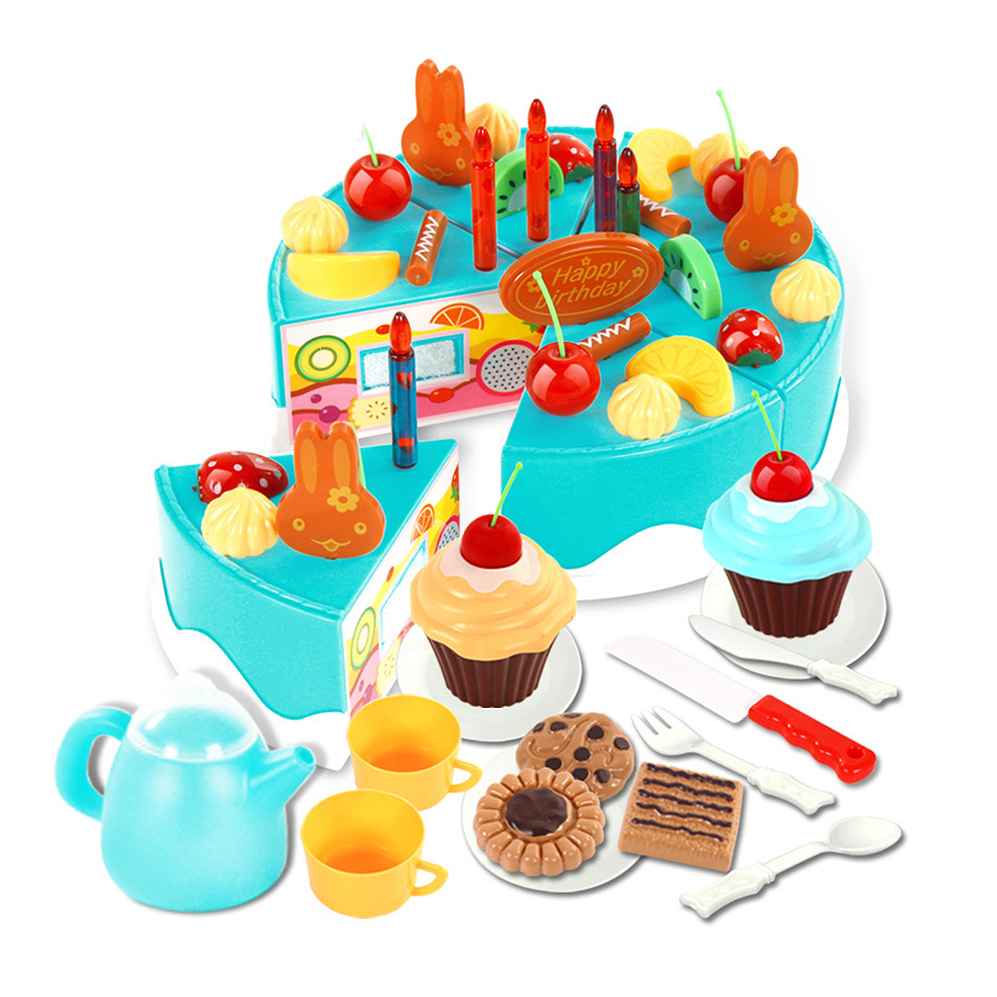 54pcs Kids Plastic Kitchen Cutting Toys Birthday Cake Pretend