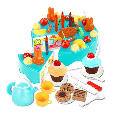 54pcs Kids Plastic Kitchen Cutting Toys Birthday Cake Pretend Playing Food Toy Set For Kids Girls Blue
