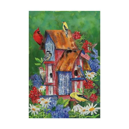 Folk Art Birdhouses - Trademark Fine Art 'Patriotic Birdhouse' Canvas Art by Cindy Fornataro