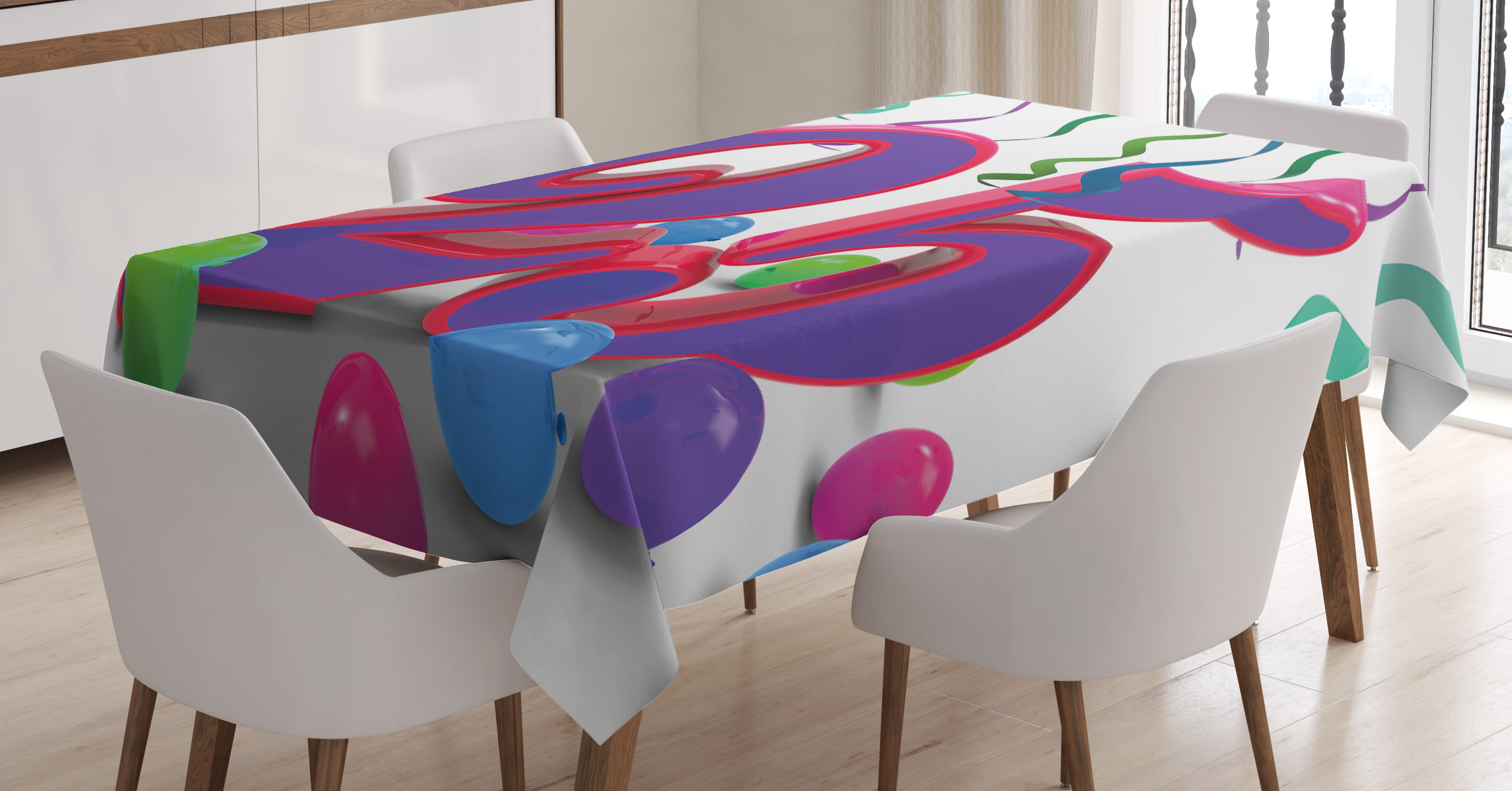 25th Birthday Decorations Tablecloth Party Set Up Colorful Ribbons And Balloons On The Ground Rectangular Table Cover For Dining Room Kitchen