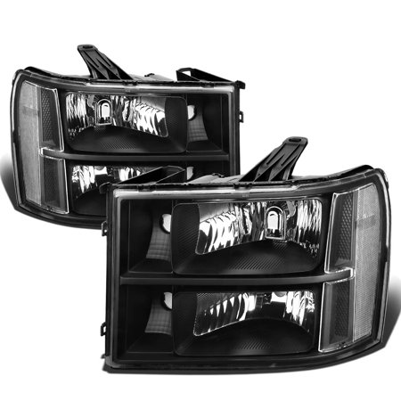 For 2007 to 2013 GMC Sierra 1500 / 2500HD / 3500HD GMT 900 Black Housing Clear Corner Headlight Headlamp 08 09 10 11 12 Left+Right