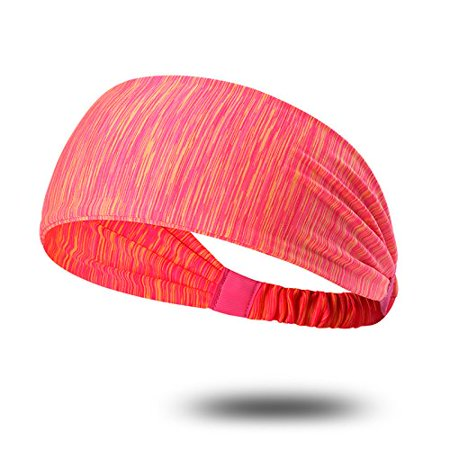 Coolmade 1 Pack Red Sport Headband for Yoga/Running/Cycling/Exercise Elastic Sweatband Hair Wrap for Men & Women