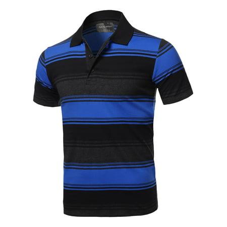FashionOutfit Men's Casual Regular fit Cotton Basic Striped Short Sleeve Polo T-Shirt Black Mini Stripe Polo