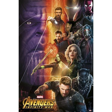 "Avengers: Infinity War - Movie Poster / Print (Good Vs. Evil) (Black Panther, Captain America, Spider-Man, Iron Man, Thor...) (Size: 24"" x 36"")"