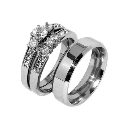 His Hers Womens Stainless Steel CZ Bridal Ring Set Mens Flat Band- Size -