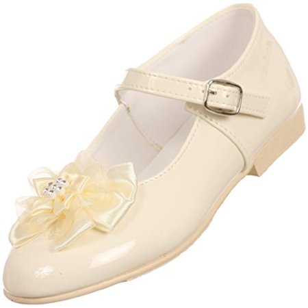 Angel Girls Shiny Patent Bow Ankle Strap Buckle Flower Dress Shoes Ivory 10 Toddler (T77R23K) - Ivory Dress Shoes Toddler