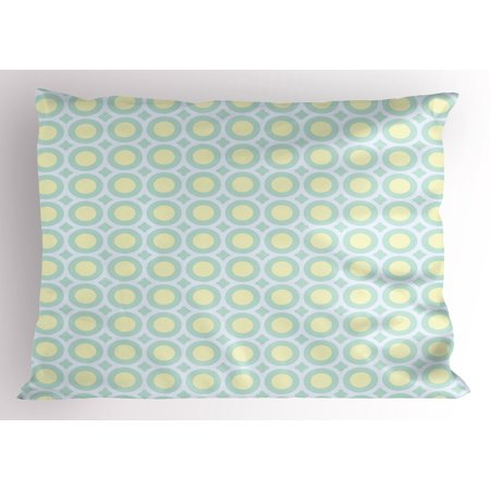 Aqua Pillow Sham Retro Circles Inner Dots 60s 70s Inspired Horizontal Artwork, Decorative Standard Size Printed Pillowcase, 26 X 20 Inches, Yellow Pale Blue White and Seafoam, by (70s Inspired)
