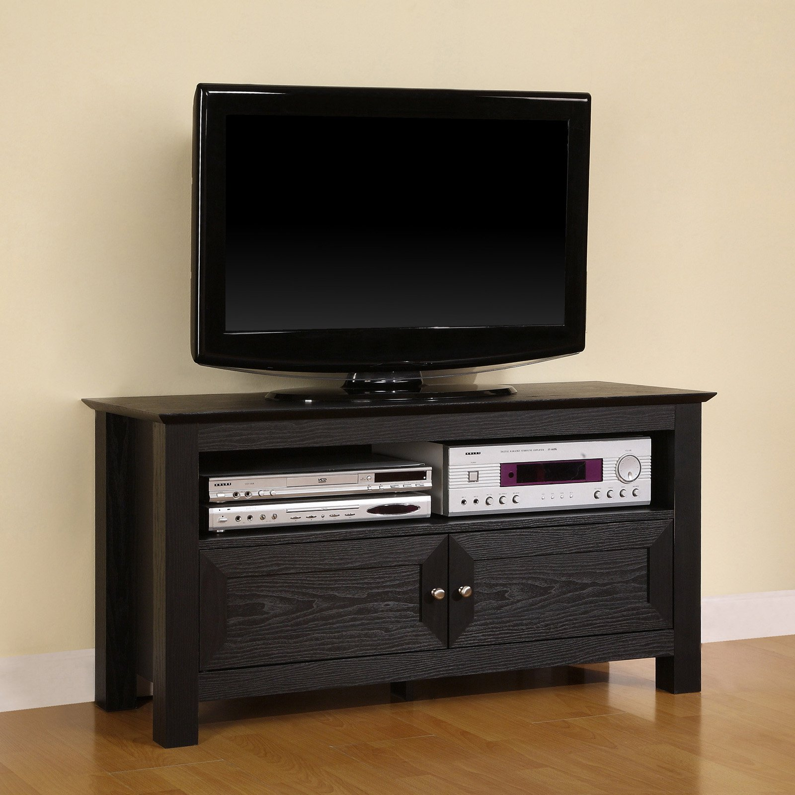 "Walker Edison Contemporary Black TV Stand for TVs up to 48"", Multiple Colors"