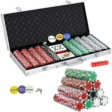 ZENSTYLE 500 Poker Chip Set 11.5 Gram Dice Style Clay Casino Poker Chips w/Aluminum Case Cards Dices Blind Button for Texas Holdem Blackjack Gambling