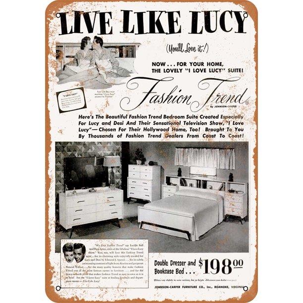 1953 Lucille Ball Bedroom Set Metal Sign 10x14 Inch Vintage Look Walmart Com Walmart Com