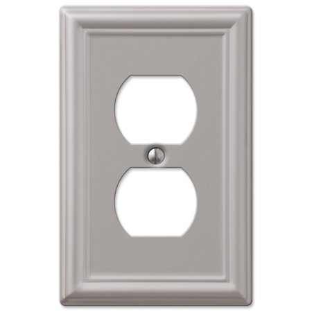AmerTac 149DBN Chelsea Steel Single Duplex Wallplate, Brushed Nickel