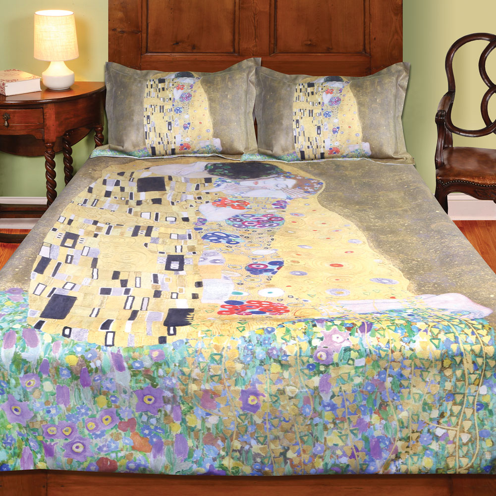 Klimt The Kiss Painting Duvet Cover  (Full/Queen) And Set Of 2 Shams Bedding Set