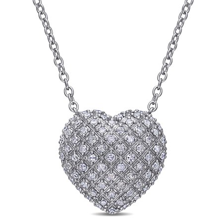 - Miabella 1 Carat T.W. Diamond Sterling Silver Heart Necklace, 18