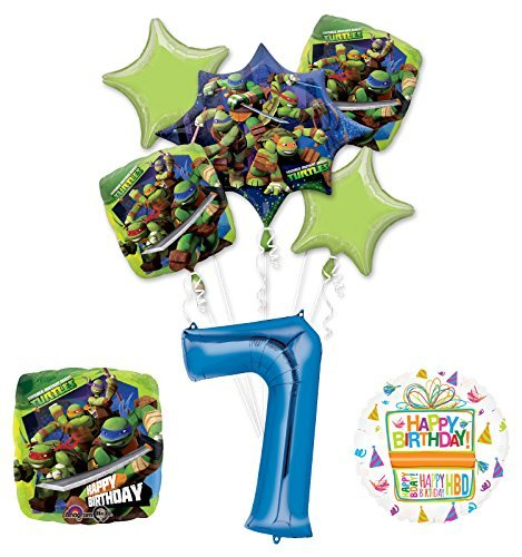 Teenage Mutant Ninja Turtles 7th Birthday Party Supplies and TMNT Balloon Bouquet Decorations