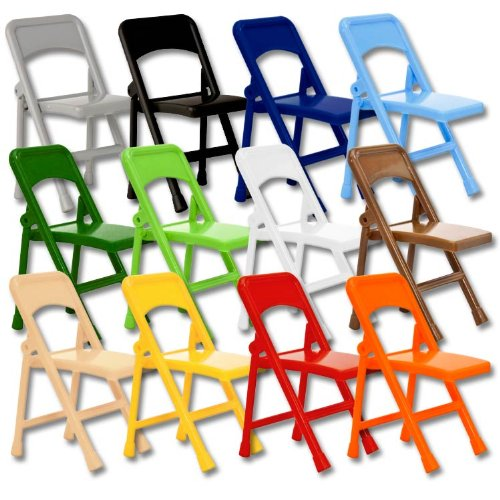 Set of 12 Different Color Plastic Toy Folding Chairs for Wrestling Action Figures