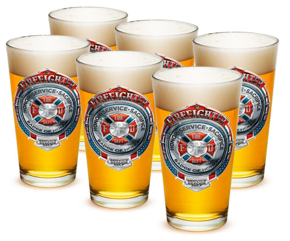 Fire 16 oz. Pint Glass Fire Honor Service Sacrifice Chrome Badge (Case of 12) by Erazor Bits