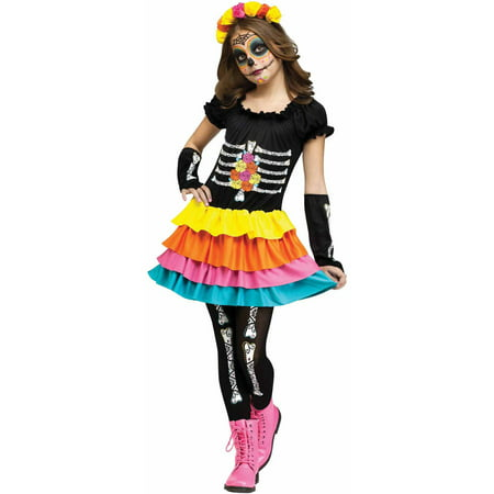 Day of the Dead Child Halloween Costume - Dead Flower Girl Halloween Costumes