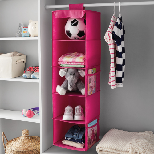 Mainstays 5 Shelf Hanging Organizer Pink