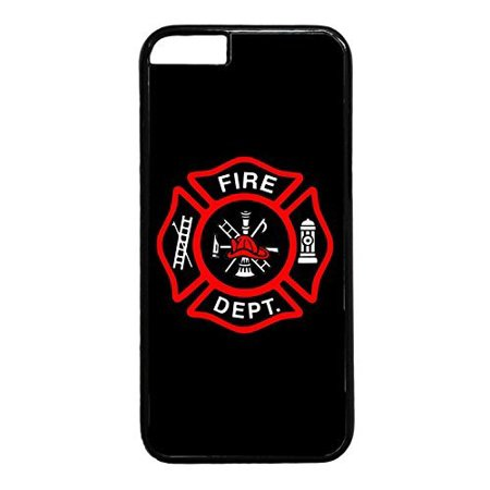 Ganma Firefighter Fire Rescue dept. Fireman Red Logo ...ck Case Cover Rubber Plastic Black Case Cover Case For iPhone 7 (4.7 INCH),