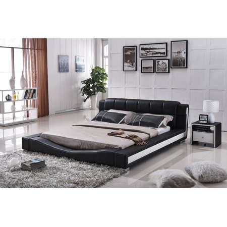 US Pride Furniture Murphy Contemporary Faux Leather Platform Bed, Black, California -