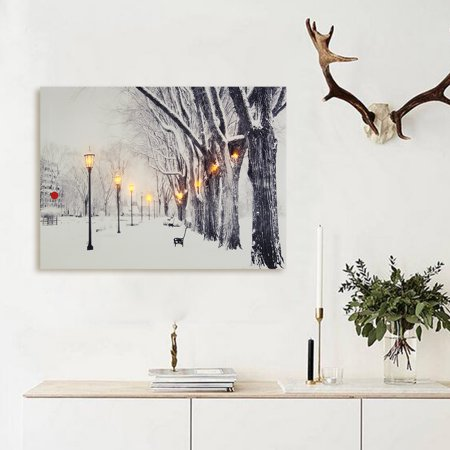LED Light Christmas Snowscape Canvas Home Decor Picture Oil Painting Wall Art Home Living Room Decoration (5