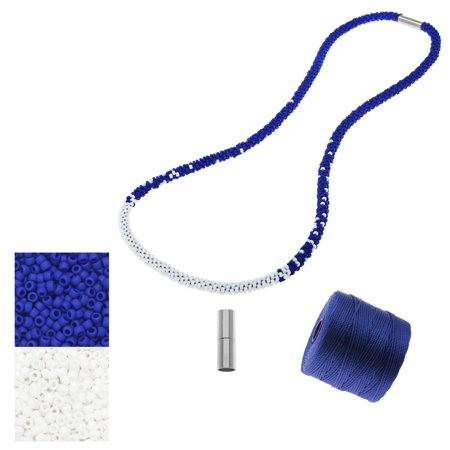 refill - long beaded kumihimo necklace - blue and white - exclusive beadaholique jewelry kit - White Bead Necklaces