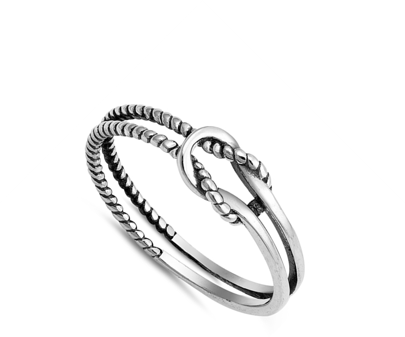 Princess Kylie Oxidized Sterling Silver Rope Knot Ring