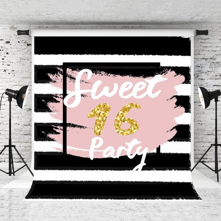 HelloDecor Polyster 5x7ft Sweet 16 Party Photo Backdrop Black White Strips Background for Girl Photography Studio Props