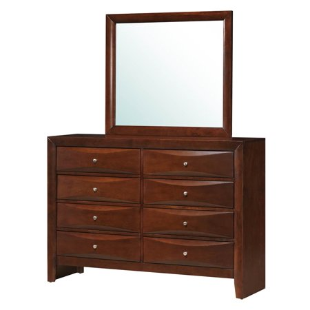 contemporary dresser and mirror set in cherry. Black Bedroom Furniture Sets. Home Design Ideas
