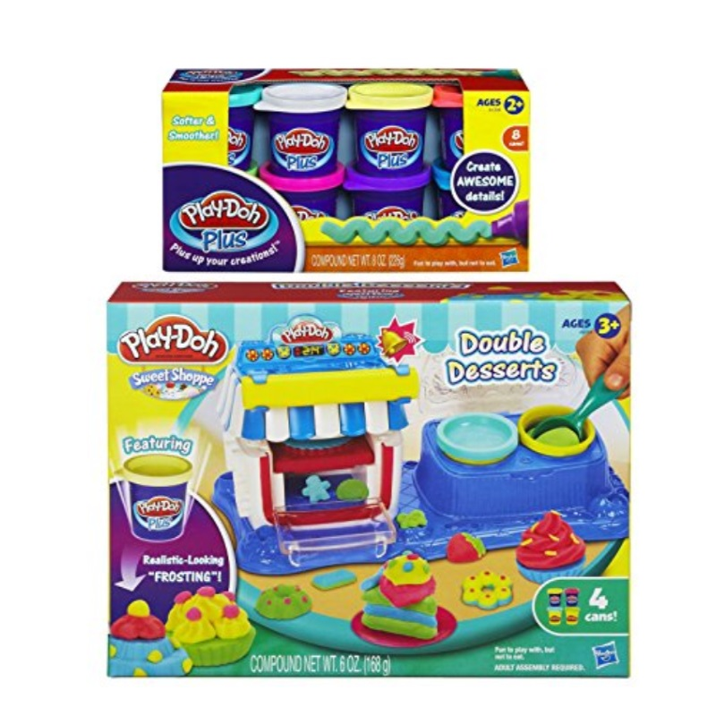 Play-Doh Sweet Shoppe Double Desserts Playset and Play-Doh Plus Color Set, NET WT 8OZ, 8-Pack (Bundle)
