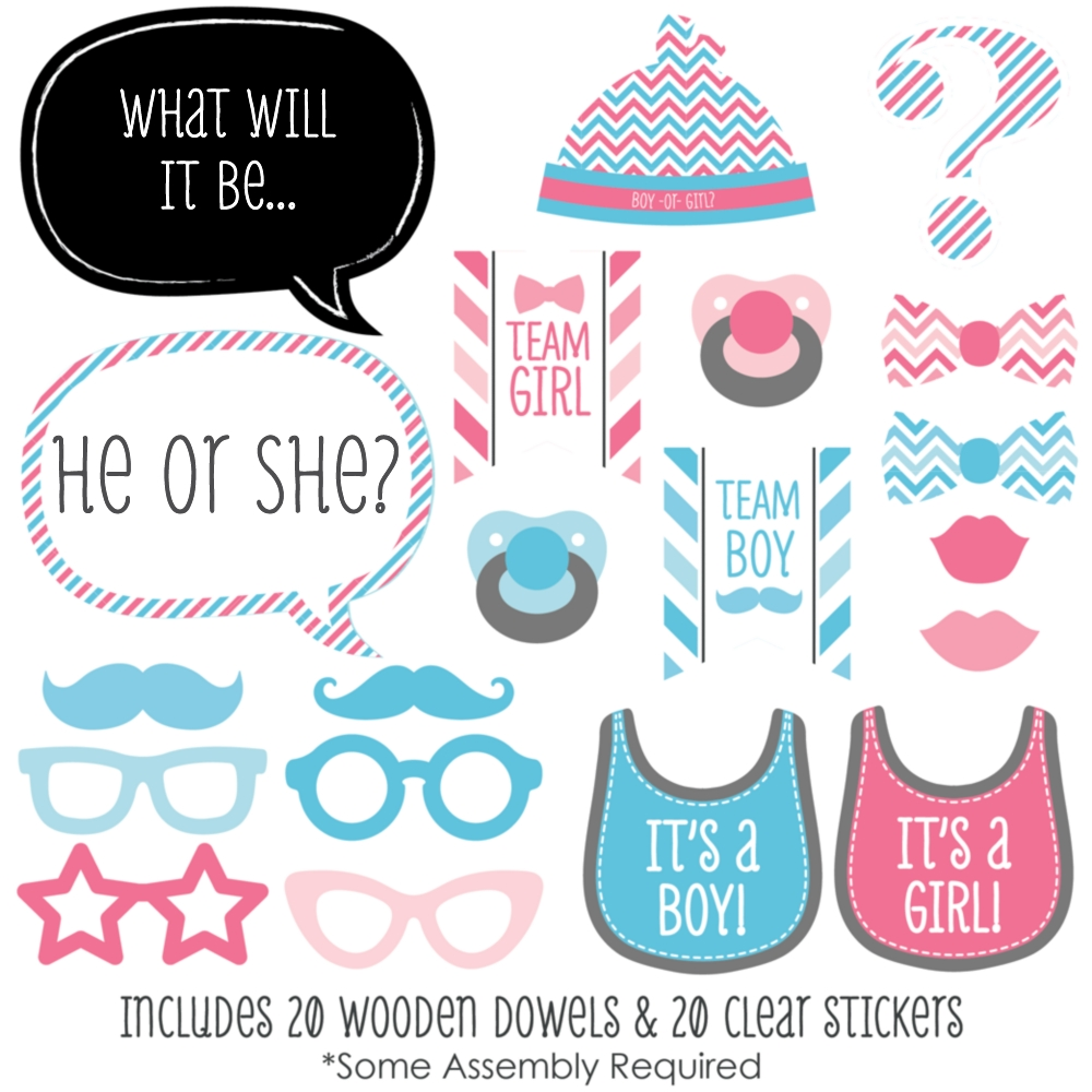 Chevron Baby Gender Reveal Photo Booth Props Kit 20 Count