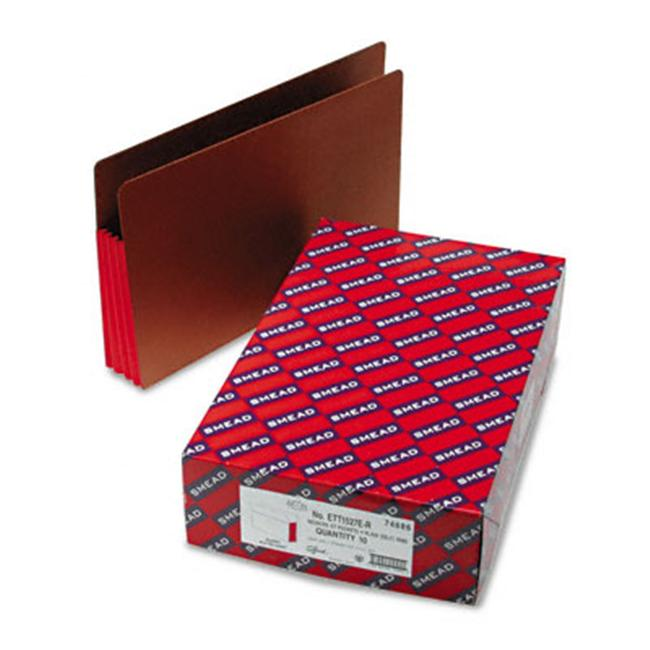 Smead 74686 3 1/2 in Expansion File Pockets with Tyvek  Straight  Legal  Red/ Redrope  10/Box