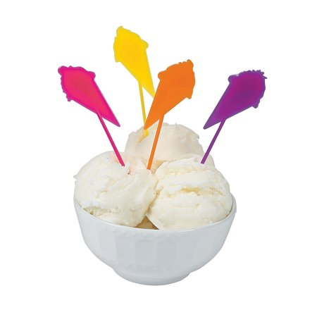 Fun Express - I Scream For Ice Cream Plastic Pick (72) for Birthday - Party Supplies - Serveware & Barware - Picks & Stirrers & Parasols - Birthday - 72 - Buy Dry Ice For Halloween Party