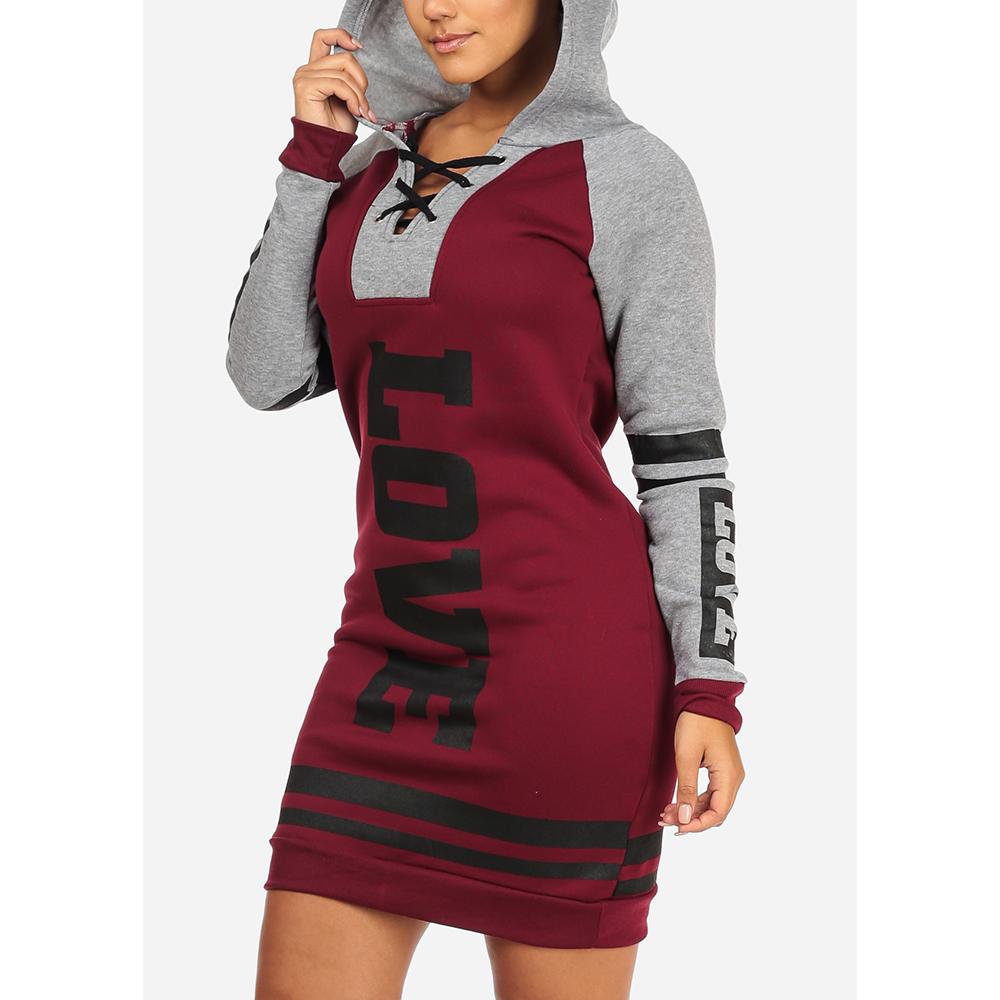 42f819d3f3a ModaXpressOnline - Womens Juniors Fleece Cozy Long Sleeve Lace Up Neckline  Love Print Black And Pink Sweater Dress 40012S - Walmart.com