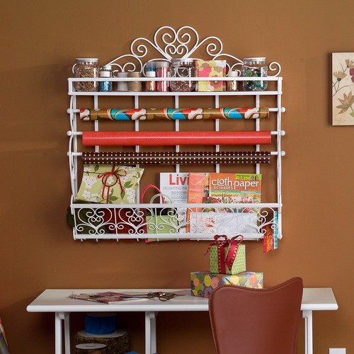 Wildon Home Whitehall Wall Mount Craft Large Storage Rack in Antique White