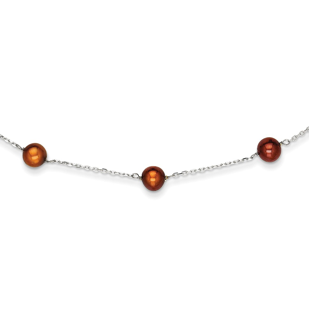 14K White Gold 16in Chocolate Cultured Pearl Necklace