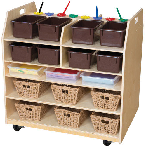 Wood Designs Trolley Art Cart with Trays