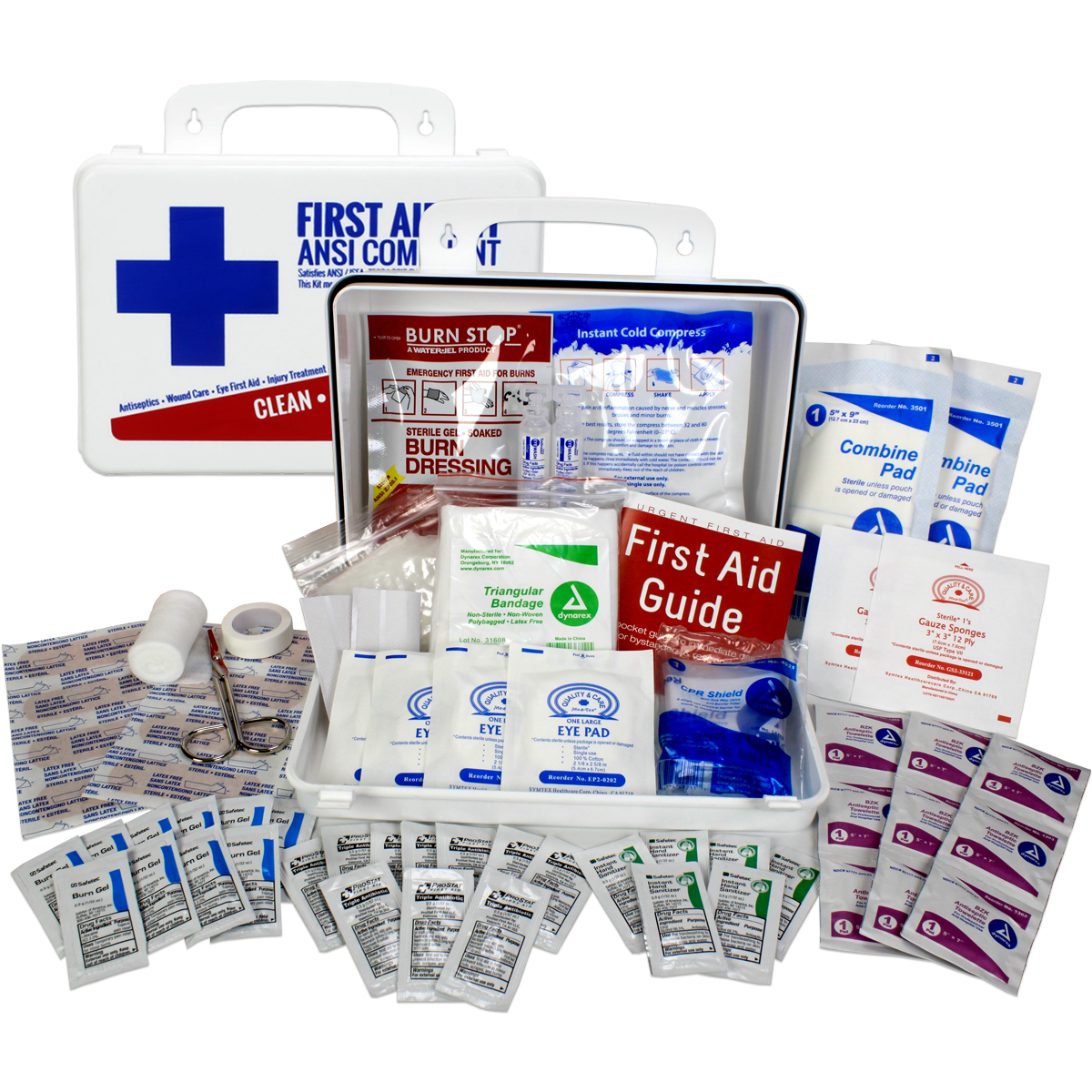 OSHA & ANSI First Aid Kit, 25 Person, 74 Pieces, Indoor/Outdoor Emergency Kit for Office, Home or Car, ANSI 2015 Class A/Types I & II, Gasketed for weather and moisture resistance, Made in USA