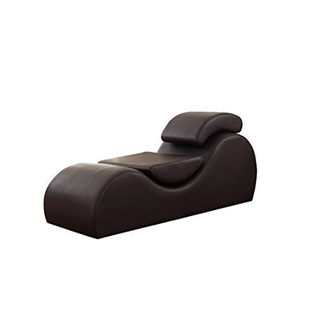 Deluxe Chaise - US Pride Furniture Faux Leather Deluxe Stretch Chaise Relaxation and Yoga Chair with Removable Pillows, Dark Brown