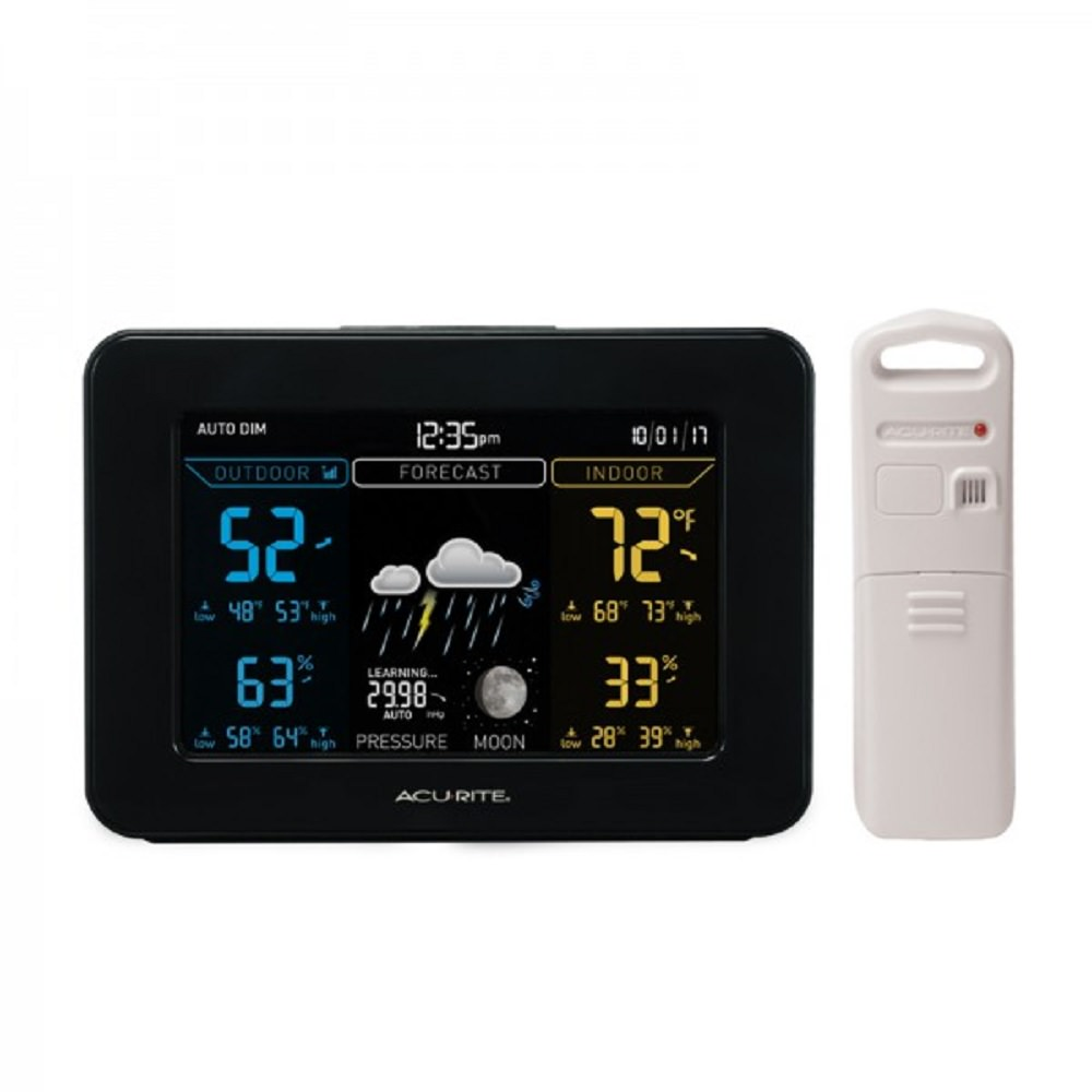 Acurite 02027A1 Color Weather Station with Temperature, Humidity Monitor, and Weather Forecaster (Dark Theme)