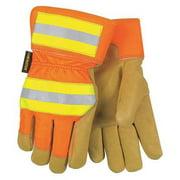 MCR SAFETY 19261XL Leather Palm Gloves,Pigskin,XL,PR