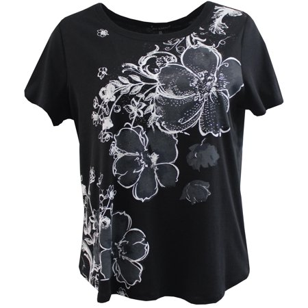 Black Floral Shirt - Plus Size Women's Short Sleeve Floral Blouse Cotton Tee T-Shirt Fashion Top Black 1X (16.048)