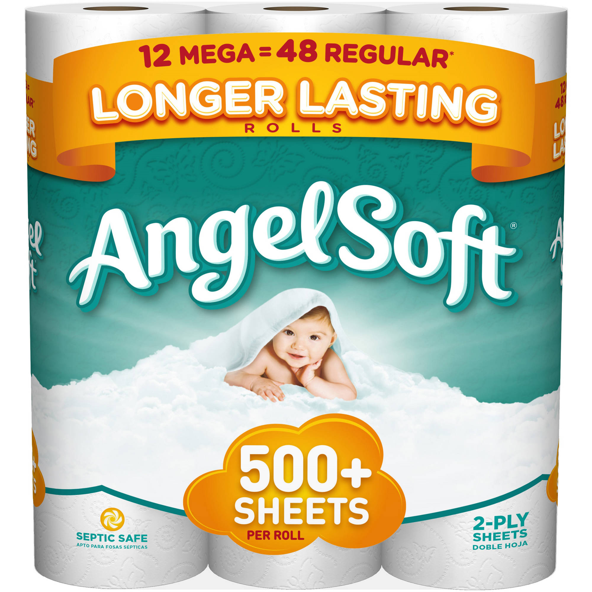 Angel Soft Toilet Paper, 12 Mega Rolls, Bath Tissue