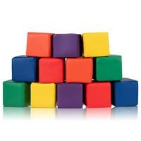 "GHP 12-Pcs 5.5"" Multi-Colored Sponge Foam & PVC Leather Kids Toddlers Block Cube"