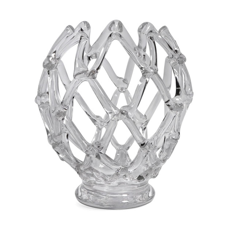 "12"" Luxurious Large Weaved Decorative Hand Blown Glass Bowl Sculpture"